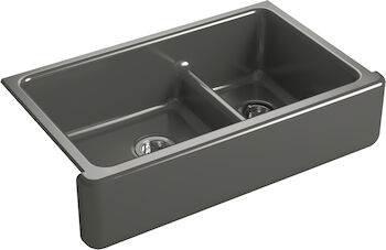 WHITEHAVEN® SELF-TRIMMING® SMART DIVIDE® 35-11/16 X 21-9/16 X 9-5/8 INCHES UNDER-MOUNT LARGE/MEDIUM DOUBLE-BOWL KITCHEN SINK WITH TALL APRON, Thunder Grey, large