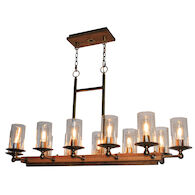 LEGNO RUSTICO 12-LIGHT ISLAND LIGHT, Burnished Brass, medium
