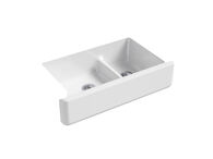 WHITEHAVEN® SELF-TRIMMING® SMART DIVIDE® 35-11/16 X 21-9/16 X 9-5/8 INCHES UNDER-MOUNT LARGE/MEDIUM DOUBLE-BOWL KITCHEN SINK WITH TALL APRON, White, medium