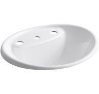 TIDES® DROP IN BATHROOM SINK WITH 8-INCH WIDESPREAD FAUCET HOLES, White, medium