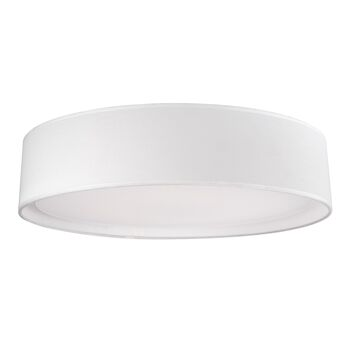 DALTON 20-INCH ROUND LED FLUSH MOUNT LIGHT WITH COLOURED HAND TAILORED TEXTURED FABRIC SHADE, White, large