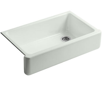 WHITEHAVEN® SELF-TRIMMING® 35-11/16 X 21-9/16 X 9-5/8 INCHES UNDER-MOUNT SINGLE-BOWL KITCHEN SINK WITH TALL APRON, Sea Salt, large