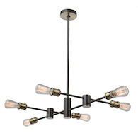 TRIBECA 6-LIGHT CHANDELIER, Matte Black and Satin Brass, medium