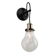 EDISON 1-LIGHT WALL SCONCE, Matte Black and Vintage Brass, medium