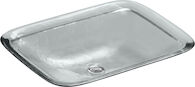 INIA® WADING POOL® GLASS RECTANGULAR VESSEL BATHROOM SINK, Ice, medium