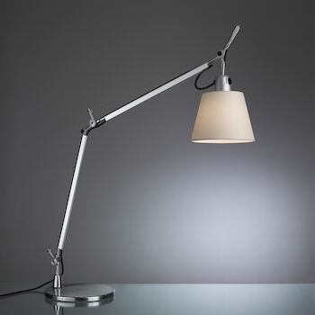 TOLOMEO TABLE LAMP WITH SHADE AND BASE, Aluminum/Parchment, large