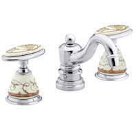 BRIAR ROSE DESIGN ON ANTIQUE CERAMIC HANDLE INSETS AND SKIRTS FOR BATHROOM SINK FAUCETS, Biscuit, medium