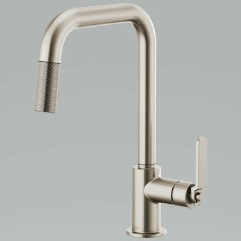 LITZE PULL DOWN FAUCET WITH SQUARE SPOUT AND INDUSTRIAL HANDLE, Stainless Steel, large