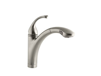 FORTÉ(R) SINGLE-HOLE OR 3-HOLE KITCHEN SINK FAUCET WITH 10-1/8-INCH PULL-OUT SPRAY SPOUT, Vibrant Brushed Nickel, large