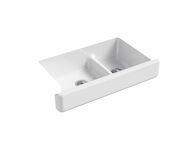 WHITEHAVEN® SELF-TRIMMING® SMART DIVIDE® 35-1/2 X 21-9/16 X 9-5/8 INCHES UNDER-MOUNT LARGE/MEDIUM DOUBLE-BOWL KITCHEN SINK WITH SHORT APRON, White, medium
