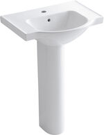 VEER™ 24-INCH PEDESTAL BATHROOM SINK WITH SINGLE FAUCET HOLE, White, medium