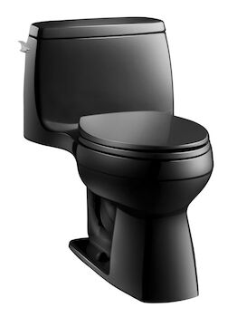 SANTA ROSA™ COMFORT HEIGHT® ONE-PIECE COMPACT ELONGATED 1.28 GPF TOILET WITH AQUAPISTON® FLUSHING TECHNOLOGY, Black Black, large