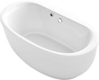 SUNSTRUCK® 66 X 36 INCHES OVAL FREESTANDING BATHTUB WITH BASK® HEATED SURFACE AND FLUTED SHROUD, White, medium