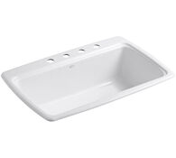 CAPE DORY® 33 X 22 X 9-5/8 INCHES TOP-MOUNT SINGLE-BOWL KITCHEN SINK WITH 4 FAUCET HOLES, White, medium