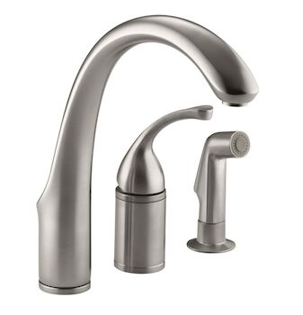 FORTÉ® 3-HOLE REMOTE VALVE KITCHEN SINK FAUCET WITH 9-INCH SPOUT AND MATCHING FINISH SIDESPRAY, Vibrant Stainless, large
