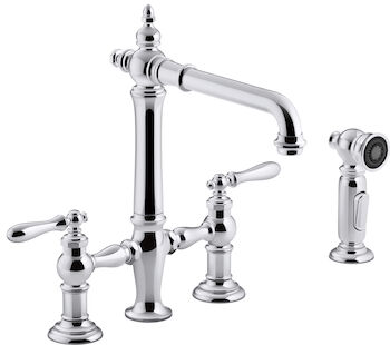 ARTIFACTS® DECK-MOUNT BRIDGE KITCHEN SINK FAUCET WITH LEVER HANDLES AND SIDESPRAY, Polished Chrome, large