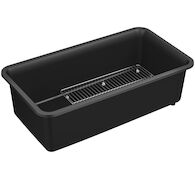CAIRN® 33-1/2 X 18-5/16 X 10-1/8 INCHES NEOROC® UNDER-MOUNT SINGLE-BOWL KITCHEN SINK WITH SINK RACK, Matte Black, medium
