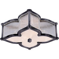 ALEXA HAMPTON LANA 2-LIGHT 15-INCH FLUSH MOUNT LIGHT WITH CLEAR GLASS ACCENT, Gun Metal, medium