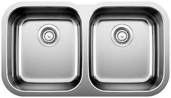 ESSENTIAL UNDERMOUNT DOUBLE KITCHEN SINK, Stainless Steel, large