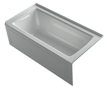 ARCHER® 60 X 30 INCHES ALCOVE BATHTUB WITH INTEGRAL APRON AND INTEGRAL FLANGE, LEFT-HAND DRAIN, Ice Grey, large
