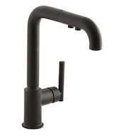 PURIST® SINGLE-HOLE KITCHEN SINK FAUCET WITH 8-INCH PULL-OUT SPOUT, Matte Black, medium