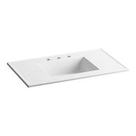 CERAMIC/IMPRESSIONS® 37-INCH RECTANGULAR VANITY-TOP BATHROOM SINK WITH 8-INCH WIDESPREAD FAUCET HOLES, White Impressions, medium