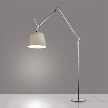 TOLOMEO MEGA FLOOR LAMP WITH 17-INCH DIFFUSER, Aluminum/Parchment, large