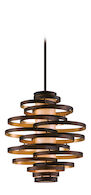 VERTIGO 3-LIGHT PENDANT, Bronze and Gold Leaf, medium