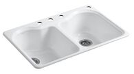 HARTLAND® 33 X 22 X 9-5/8 INCHES TOP-MOUNT DOUBLE-EQUAL KITCHEN SINK WITH 4 FAUCET HOLES, White, medium