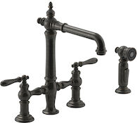 ARTIFACTS® DECK-MOUNT BRIDGE KITCHEN SINK FAUCET WITH LEVER HANDLES AND SIDESPRAY, Oil-Rubbed Bronze, medium
