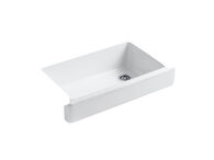 WHITEHAVEN® SELF-TRIMMING® 35-1/2 X 21-9/16 X 9-5/8 INCHES UNDER-MOUNT SINGLE-BOWL KITCHEN SINK WITH SHORT APRON, White, medium
