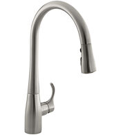 SIMPLICE(R) SINGLE-HOLE OR THREE-HOLE KITCHEN SINK FAUCET WITH 16-5/8-INCH PULL-DOWN SPOUT, DOCKNETIK(R) MAGNETIC DOCKING SYSTEM, AND A 3-FUNCTION SPRAYHEAD FEATURING SWEEP(R) SPRAY, Vibrant Stainless, medium