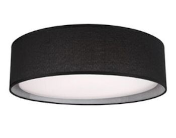 DALTON 20-INCH ROUND LED FLUSH MOUNT LIGHT WITH COLOURED HAND TAILORED TEXTURED FABRIC SHADE, Black, large