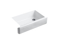 WHITEHAVEN® 35-11/16 X 21-9/16 X 9-5/8 INCHES UNDER-MOUNT SELF-TRIMMING® SINGLE-BOWL KITCHEN SINK WITH TALL APRON AND HAYRIDGE® DESIGN, White, medium