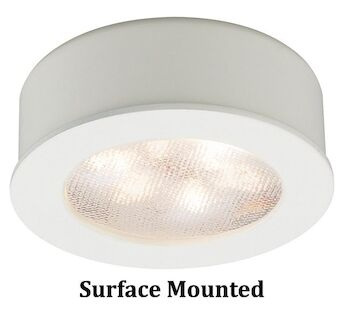 ROUND LEDme® BUTTON LIGHT 3000K WARM WHITE RECESSED OR SURFACE MOUNT, White, large