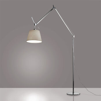 TOLOMEO MEGA LED FLOOR LAMP WITH 14-INCH DIFFUSER, Aluminum/Parchment, large