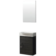 BOX UNO WALL MOUNT VANITY WITH CERAMIC SINK AND MIRROR, 16101, White, medium
