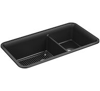 CAIRN® 33-1/2 X 18-5/16 X 10-1/8 INCHES NEOROC® UNDER-MOUNT LARGE/MEDIUM DOUBLE-BOWL KITCHEN SINK WITH SINK RACK, Matte Black, medium