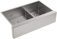 STRIVE® SELF-TRIMMING® SMARTDIVIDE® 35-1/2 X 21-1/4 X 9-5/16 INCHES UNDER-MOUNT LARGE/MEDIUM DOUBLE-BOWL KITCHEN SINK WITH TALL APRON, Stainless Steel, medium