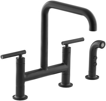 PURIST® TWO-HOLE DECK-MOUNT BRIDGE KITCHEN SINK FAUCET WITH 8-3/8-INCH SPOUT AND MATCHING FINISH SIDESPRAY, Matte Black, large