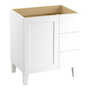 POPLIN® 30-INCH BATHROOM VANITY CABINET WITH LEGS, 1 DOOR AND 3 DRAWERS ON RIGHT, Linen White, small