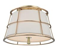 SAVONA 2-LIGHT SEMI FLUSH, Aged Brass, medium