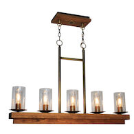 LEGNO RUSTICO 5-LIGHT ISLAND LIGHT, Burnished Brass, medium