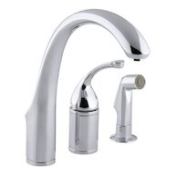 FORTÉ® 3-HOLE REMOTE VALVE KITCHEN SINK FAUCET WITH 9-INCH SPOUT AND MATCHING FINISH SIDESPRAY, Polished Chrome, medium