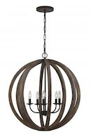 ALLIER 5-LIGHT PENDANT, Weathered Oak, medium