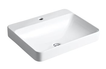 VOX® RECTANGLE VESSEL BATHROOM SINK WITH SINGLE FAUCET HOLE, White, large