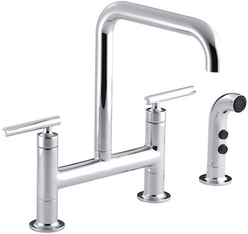 PURIST® TWO-HOLE DECK-MOUNT BRIDGE KITCHEN SINK FAUCET WITH 8-3/8-INCH SPOUT AND MATCHING FINISH SIDESPRAY, Polished Chrome, large